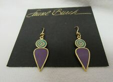 VINTAGE LAUREL BURCH Femina Purple & Teal Cloisonne` Drop Dangle EARRINGS NOS