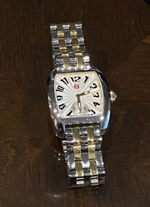 MICHELE URBAN MINI TWO-TONE SILVER AND GOLD BAND BRACELET WATCH MWW02A000608