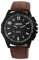 Qbos Herrenuhr Schwarz Braun Analog Metall Kunst-Leder Armbanduhr X-2900046-002