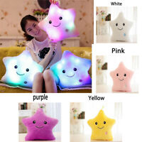 4 Colors LED Light Up Glow Star Shape Cushion Soft Cosy Relax Plush Pillow Gift