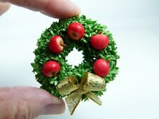 Miniature Dollhouse Christmas Wreath with Apples on green Mulberry Moss, 1:12