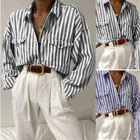ZANZEA Women Long Sleeve Stripe Shirt Tops Buttons Down Loose Lapel Blouse Plus