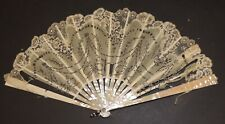 Beautiful Victorian Mother of Pearl / Spangled Silk Hand Fan