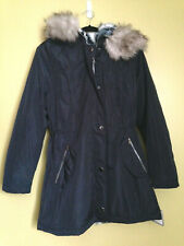 NWT Laundry by Shelli Segal Navy Blue Faux Fur Hooded Parka Winter Coat M $300
