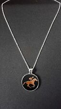 """Horse Racing Pendant On 18"""" Silver Plated Fine Metal Chain Necklace Gift N481"""