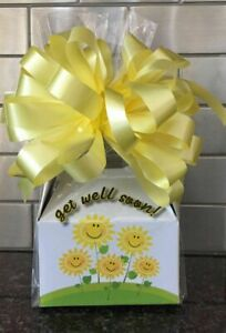 Get Well Soon Candy Gift Box-Basket Wrapped With Yellow Bow & Card