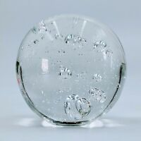 """Vintage Art Glass Clear Paperweight With Controlled Bubbles #2  Large 3 1/2"""". PO"""
