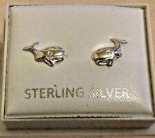 STERLING 925 SILVER WHALE STUD EARRINGS 59417
