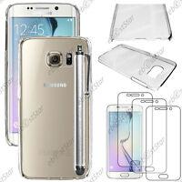 Coque Housse Etui Rigide Transparent Samsung Galaxy S6 edge G925F+Stylet+3 Films