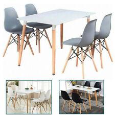 Mesa de Comedor Blanca + 4 Sillas de Comedor, Patas de Madera Retro para Cocina