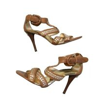 MICHAEL KORS Women's Sz 6 Strappy Heels Sandals Shoes Brown Leather Embellished