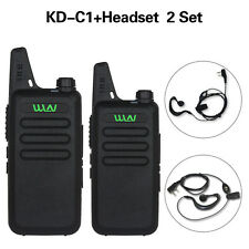 2xWLN KD-C1 16 Channel Walkie Talkie Ham Radio UHF 400-470 MHz+Headset 2-Way D6
