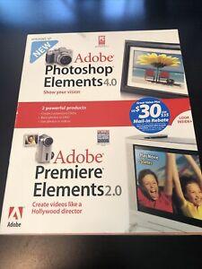 Adobe Photoshop Elements 4.0 And Premier Elements  2.0 2-Disc Set All Original