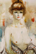 BEAUTY! MID CENTURY MCALPIN ORIG. OIL PAINTING! FIGURE ART GIRL VTG 60'S TOPLESS