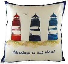 "17"" Coastal Lighthouses Cushion Evans Lichfield DPA578 43cm Nautical"