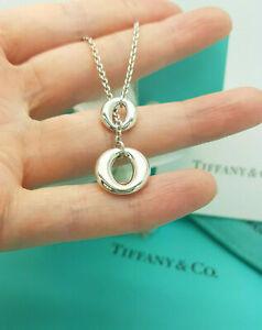 Tiffany & Co Elsa Peretti Sevillana Round Oo Lariat Silver Necklace, UK Hallmark