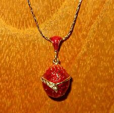 Genuine Russian FABERGE inspired RED Gold ENAMEL Swarovsky Crystals EGG pendant