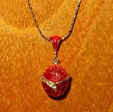 Russische FABERGE inspiriert rotgold Emaille Swarovsky Kristalle Ei Anhänger