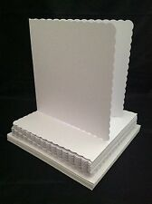 "6"" x 6"" Scalloped Card Blanks & Envelopes - White (50)"