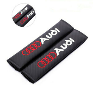 2PCS Carbon Fiber Car Seat Belt Pads Covers Shoulder Cushion  fit for Audi