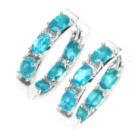 Ravishing Oval Cut 5x3mm Aaa Neon Blue Apatite 925 Sterling Silver Earrings