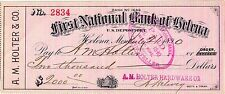 1890, FIRST NATIONAL BANK OF HELENA MONT,ON A.M.HOLTER & CO CHECK