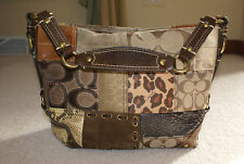 Coach Carly Brown Patchwork Hobo Handbag #11496 FREE SHIP