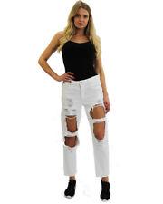Womens Boyfriend Destroyed Ripped Distressed Denim Slim Sexy Jeans Girl Trouser
