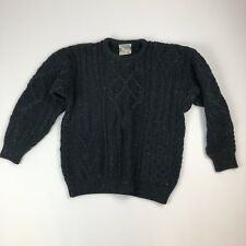 Vtg Connemara Knitwear Green Speckled 100% Wool Cable-knit Sweater Sz S Ireland