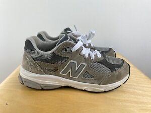 New Balance 990 Kid's Sz 1 Gray White Sneakers KJ990GRP Boy's Girls Unisex
