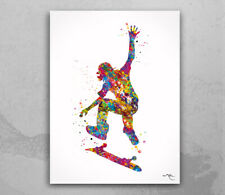 Skateboarder Watercolor Print Skateboard Street Sport Art Wall Art Decor-1693