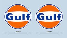 "GULF logo adesivi 25 mm 1 ""WIDE Decalcomania-Licenza Ufficiale Merchandise Golfo"