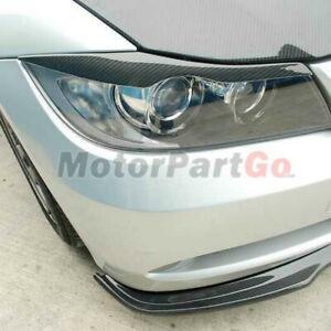 Real Carbon fiber Head light Eyelid Eyebrow Cover Trim For BMW E90 E91 2006-2011