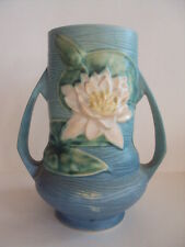 """Vintage Roseville Pottery Water Lily Handled Vase. 76-8"""". Beautiful! Look!"""