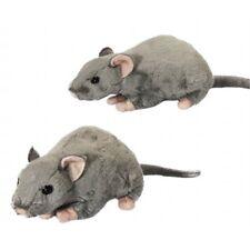 Squeaking Rat Soft Toy Animal - Grey Living Nature Plush Childs Squeak Cuddly