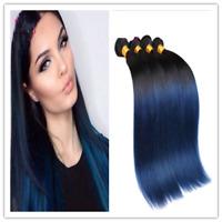 Straight Black Ombre Blue Hair Brazilian Human Hair Extensions Weft 1-3 Bundles