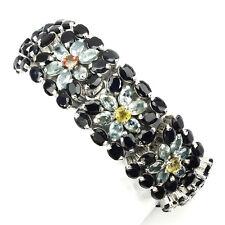 100% Natural Black Sapphire Blue Zircon 925 Sterling Silver Big Bracelet 7 Inch