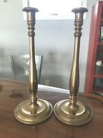 "Two Antique Brass Candlesticks Heavy 4 lb tall candlesticks 15"" Pair Abby C1"