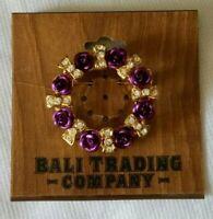 Vintage Jewelry Gold Tone Purple Rose Flower Wreath BROOCH PIN Rhinestone Bows