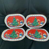 Vintage Vinyl Christmas Placemats Teddy Bear Decorating Table Decor Set of 4
