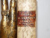 MARSILIO FICINO 2 op. Commento CONVITO FEDRO PLATONE 1544 Roma Annotato