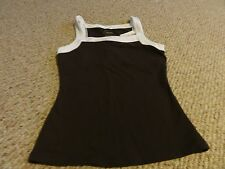 NEW LADIES BROWN WHITE ATHLETIC YOGA RUNNING SHIRT NYLON BLEND BY TANTRA-SMALL S