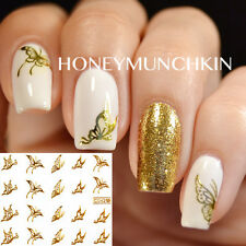 Nail Art Water Decals Gold Vivid Butterfly Design Transfer Stickers Decoration