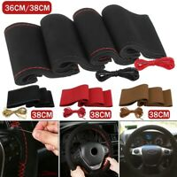 Universal DIY Car Auto Steering Wheel Cover Soft Suede Super Fiber Hand Sewing