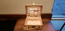 """Rare New Vintage Genuine """"Shortrip"""" Tan Leather Cosmetic Train Case Luggage USA"""