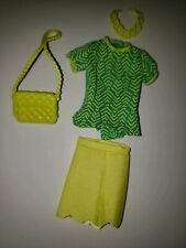 BARBIE OUTFIT, GREEN & YELLOW TOP, YELLOW SKIRT, PURSE & NECKLACE