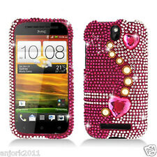 HTC ONE SV Cricket Boost Diamond Hard Snap-On Case Cover Pink Pearls