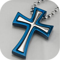 cross pendant men's stainless steel free chain necklace silver blue