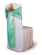 "250 Aqua Green Satin Chair Cover Sash Bows 6""x108"" Banquet Wedding Event Party"