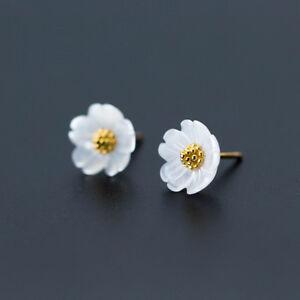 B Ware: Ohrstecker Blume echt Sterling Silber 925 Perlmutt Ohrringe Damen
